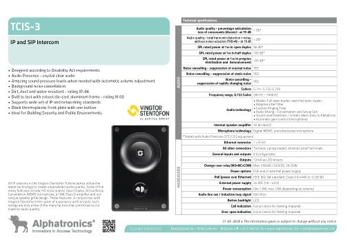 Technical data Stentofon TCIS-3 intercom