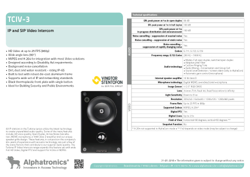 Technical data Stentofon TCIV-3 video intercom
