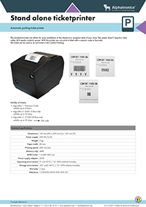 Alphatronics technical data stand alone ticket printer